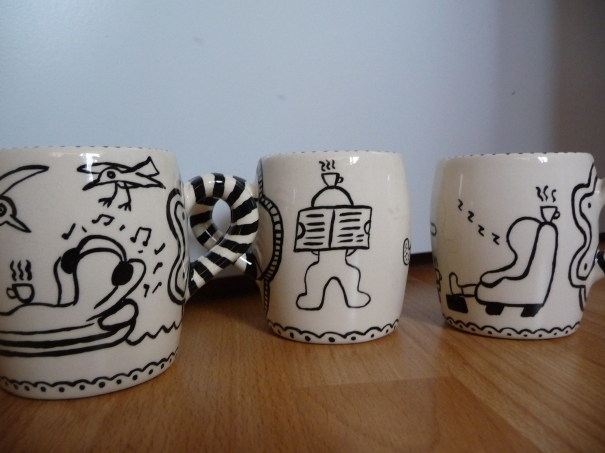 Coffee mugs serie of 6 by Pieter Buijs
