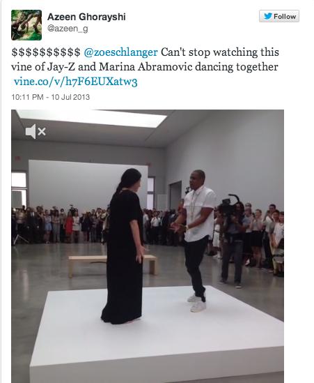 Screenshot of tweet of Jay-Z & Marina Abramovic