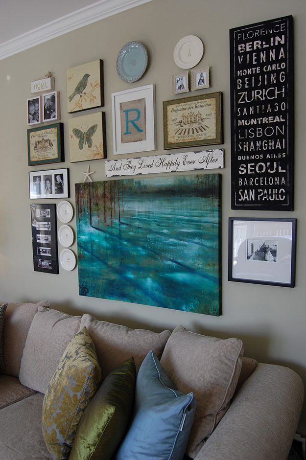 A gallery wall with a centrepiece