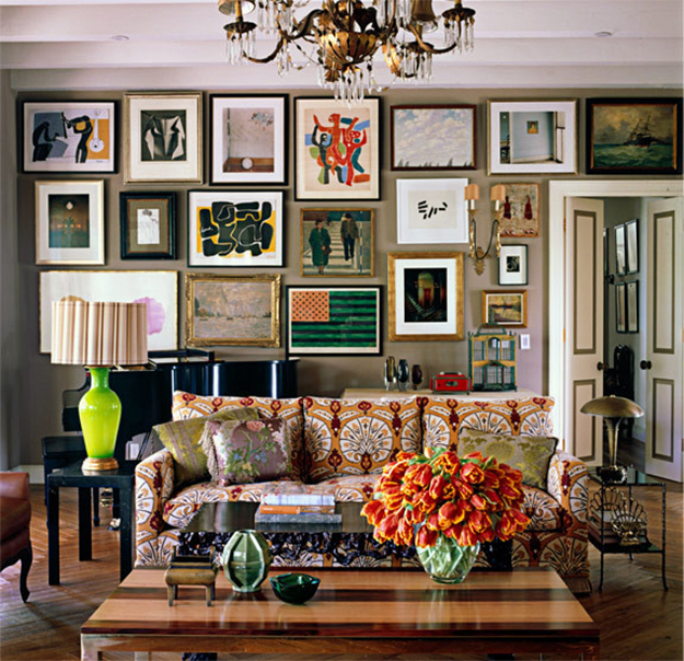 An eclectic gallery wall