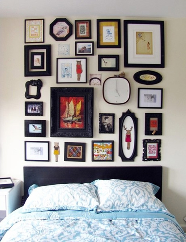 A gallery wall of various shaped frames