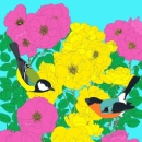 Bullfinch, Great Tit and Roses