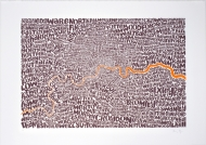 Map of Greater London - neon orange / bark