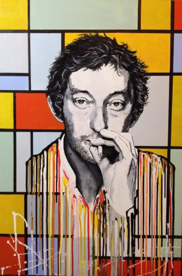 Serge Gainsbourg melting on mondrian painting by Raffaella Bertolini
