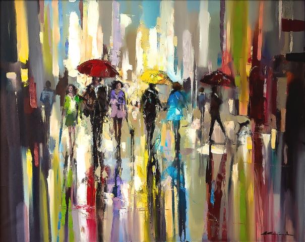39 rainbow rain in london 39 by ewa czarniecka buy for Buy affordable art online