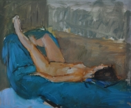 Reclining Nude - turquoise
