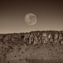 Full Moon Setting Over The Great Escarpment-, Karoo National Park, South Africa