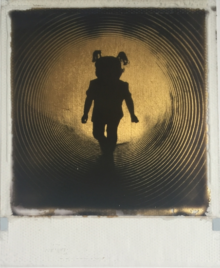 A Distant Focus  24ct gold leaf Polaroid collage by Andrew Millar