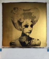 Last Kiss  24ct gold leaf Polaroid collage