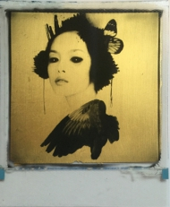 Reflection  24ct gold leaf Polaroid collage