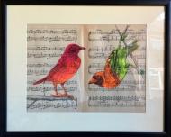 Weaver Birds on Music Score