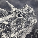 Texas Horned Lizard (Original Charcoal Drawing)