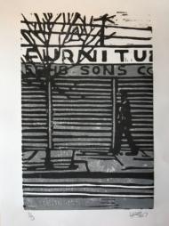 street scene with figure