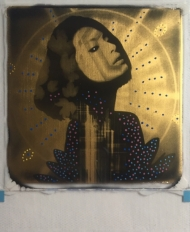 Diamond Skies 24ct gold leaf Polaroid collage