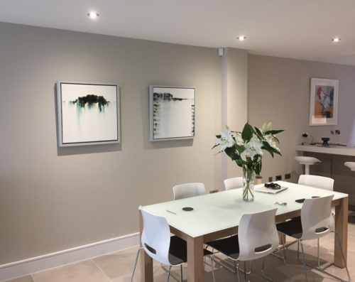 2 Paintings recently sold, on show in their new home.