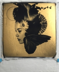 The flowers whirl away  24ct gold leaf Polaroid collage