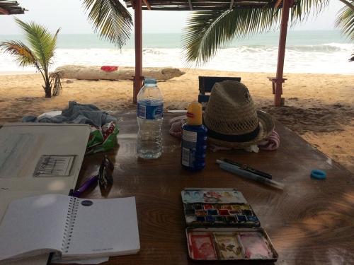 working on the beach in Ghana