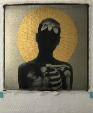 Fractured- Platinum & 24ct gold leaf Polaroid collage