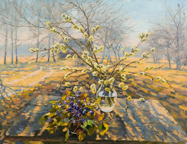 Catkins and Snowdrops by Elena Barkhatkova