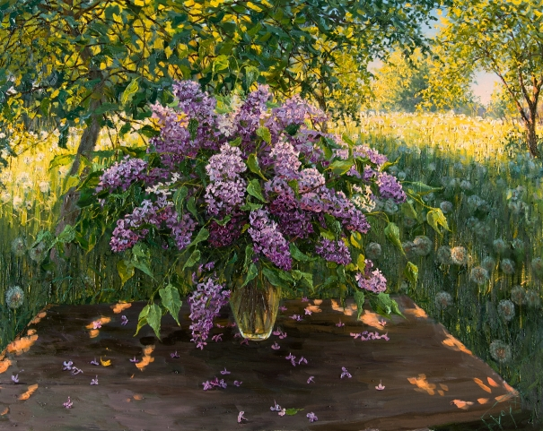 Still life with lilacs by Elena Barkhatkova