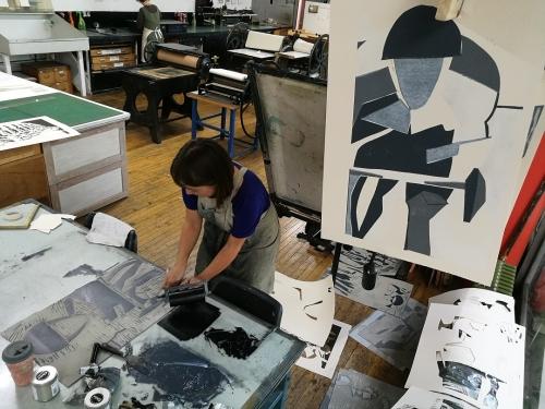 Working on a giant linocut last week