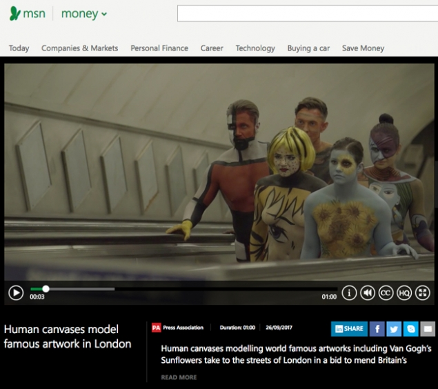 MSN Money | Human canvases model famous artwork in London | Art News