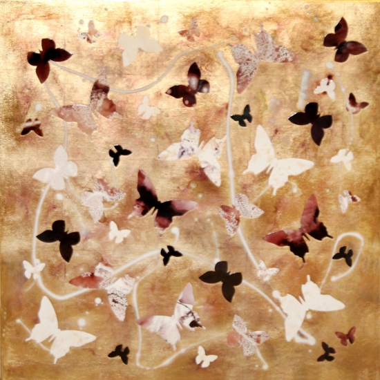 last days of summer butterfly collage gold leaf high gloss by