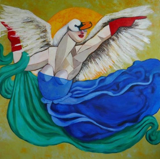 Goddess & Swan dancing in moonlight by Ta Thimkaeo