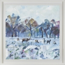 'Snow Study in Park II' Limited Edition Giclee Print, 80x80cm frame