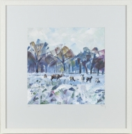 'Snow Study in Park II' Limited Edition Giclee Print, 48x48cm frame