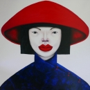 Vietnamese lady in red hat