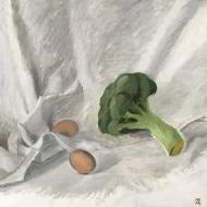 Nature morte au brocoli et deux œufs