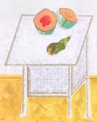 Nature morte au melon et poire
